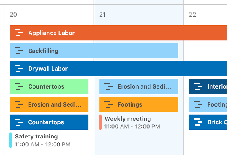 Construction calendars and scheduling software